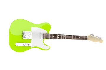 Isolated green electric guitar on white background. Concert and studio equipment. Musical instrument. Rock, blues style. 3D rendering.