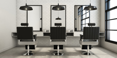 Barber shop Modern & Loft design - 3D render