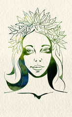 Girl with wreath of marijuana leafs.Watercolor background. Vector image.