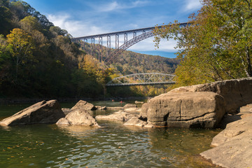 Wall Mural - Kayakers at the New River Gorge Bridge in West Virginia