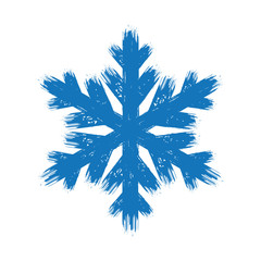 Winter hand drawn grunge blue brush stroke isolated snowflake