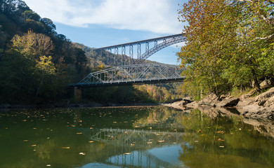 Fototapete - Old and New River Gorge Bridge in West Virginia