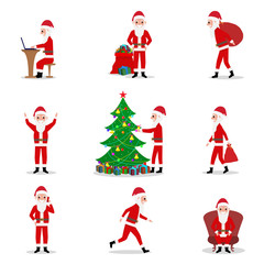 Vector set cartoon Santa Claus ready for Christmas