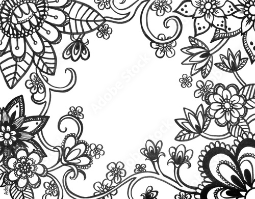 Adult Coloring Book Page Of Abstract Flower Doodles On Border Hand Drawn Flowers Sketched In
