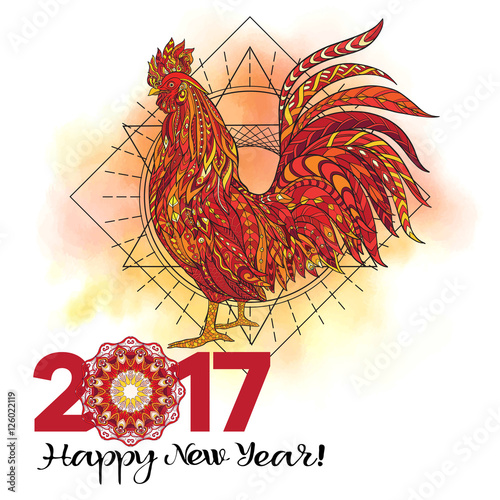 Rooster Decorative Patterned Rooster Chinese 2017 New Year Symbol