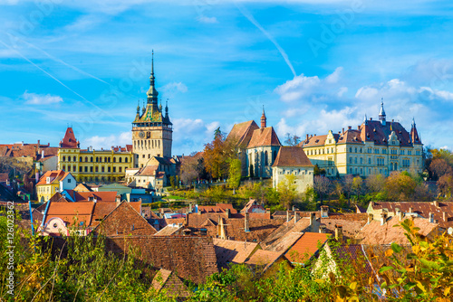 Wall mural Panoramic view over the medieval fortress Sighisoara city, Transylvania, Romania