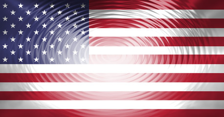 Usa flag with abstract bright shiny swirling pattern effect illustration background.
