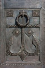 Decorated door of the Russian orthodox temple