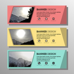 flat horizontal banners set on the theme of mountains and winter.