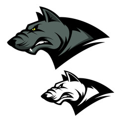Angry wolf head. Sport team mascot. Design element for logo, label, emblem, sign, brand mark. Vector illustration.