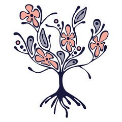 Vector hand drawn illustration, decorative ornamental stylized tree. Pink and blue graphic illustration isolated on the white background. Inc drawing silhouette. Decorative artistic ornamental wood