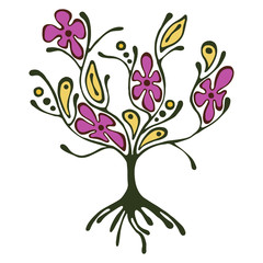Vector hand drawn illustration, decorative ornamental stylized tree. Pink and yellow graphic illustration isolated on the white background. Inc drawing silhouette. Decorative artistic ornamental wood