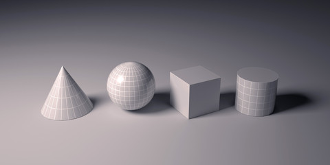 Shadow of cube,cylinder, sphere and cone on grey background.