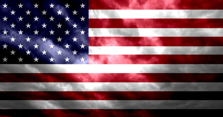 United States of America flag with grunge dark dirty effect illustration background.