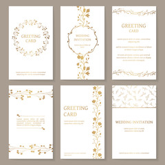 Vector set of six templates with gold ornament. Vintage wedding invitation and greeting cards with floral elements (wreath, border, pattern).