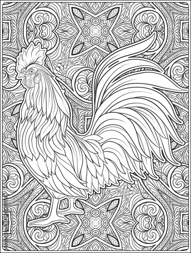 Rooster 2017 happy new year adult coloring page for New year coloring pages 2017