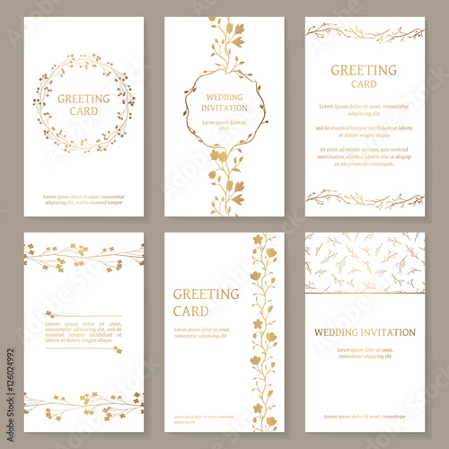 Vector Set Of Six Templates With Gold Ornament Vintage Wedding