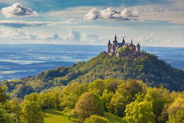 Fotobehang Kasteel Hohenzollern Castle at sunset, Baden-Wurttemberg, Germany