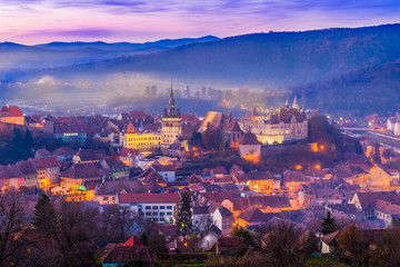 Wall Mural - Panoramic view over the medieval fortress Sighisoara city, Transylvania, Romania