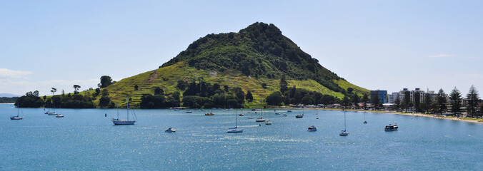 Panoramic view of Mount Maunganui in Tauranga. Tauranga is a harbourside city in the Bay of Plenty region on New Zealand's North Island.