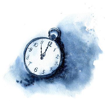 Watercolor vintage clock. Christmas illustration with snow and pocket watch isolated on white background. Five minutes to twelve o'clock of new year. For design or print
