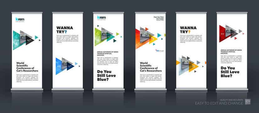 Business vector set of modern roll Up Banner stand design with f