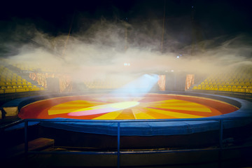 Interior of circus with fog effect