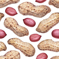 Seamless pattern with watercolor illustrations of peanuts