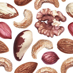 Seamless pattern with watercolor illustrations of nuts