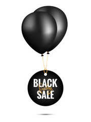 Black Friday Sale Banner Template with Black Balloons.