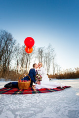 Bride and groom are sitting on the plaid with balloons