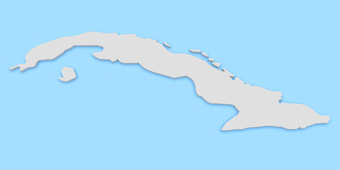 3d Illustration of Cuba Map Isolated On Blue Background