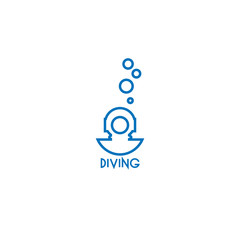 diving helmet line vector logo template