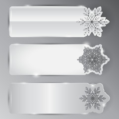 A set of cards with snowflakes