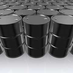 3D illustration of Black Metal Oil Barrels on White Background.