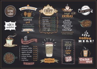 Chalkboard coffee and desserts menu list designs set for cafe or restaurant