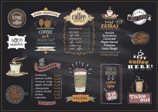Chalkboard coffee and desserts menu list designs set for cafe or restaurant