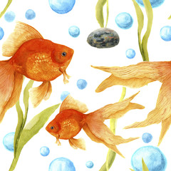 Watercolor pattern with aquarium. Goldfish, stone, algae and air bubbles. Artistic hand drawn illustration. For design, textile, print.