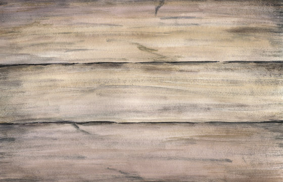Wood texture with old painted boards. Watercolor hand drawing artistic realistic illustration for design, background, textile.