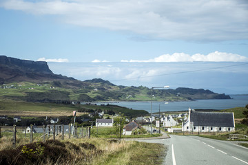 Isle of Sky Scotland UK Panorama View Sea Village