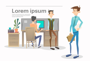 Business People Group Team Meeting Office Interior Teamwork Collaboration Flat Vector Illustration