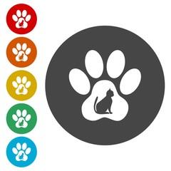 Cat Paw Print icons set