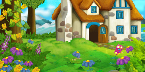 Cartoon background of an old house in the meadow - illustration for children