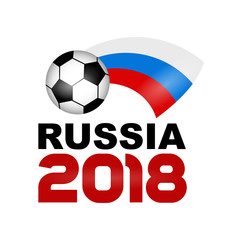 Logo Football Championship 2018 in Russia. Poster Russian flag. Vector Illustration. Flat colored banner isolated soccer ball concept with shadow. World Cup football sport banner