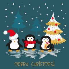 Christmas card with cute doodle penguins. Vector illustration.