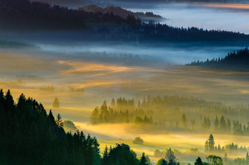 Landscape of Misty morning in the mountains,Poland Koniakow