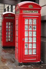 London telephone booth in winter