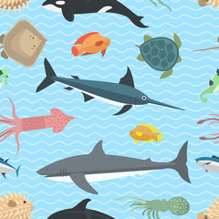 Sea animals vector seamless pattern