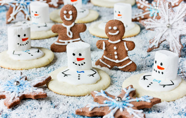 Christmas Cookies - melting snowman, gingerbread man, snowflake