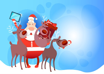 Santa Claus With Reindeer Making Selfie Photo, New Year Christmas Holiday Greeting Card Flat Vector Illustration